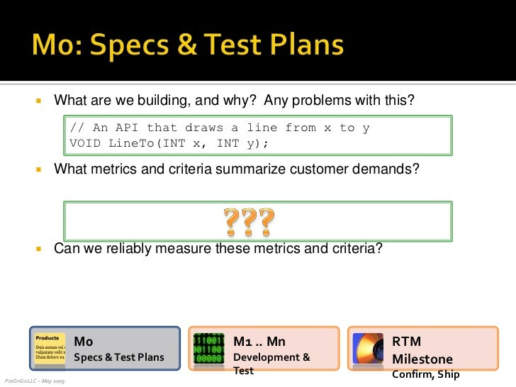 What are we building, and why?  Any problems with this?<br />What metrics and criteria summarize customer demands?<br />Ca...