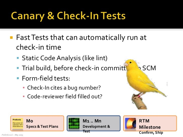 Fast Tests that can automatically run at check-in time<br />Static Code Analysis (like lint)<br />Trial build, before chec...