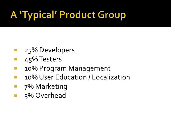 A 'Typical' Product Group <br />25% Developers<br />45% Testers<br />10% Program Management<br />10% User Education / Loca...