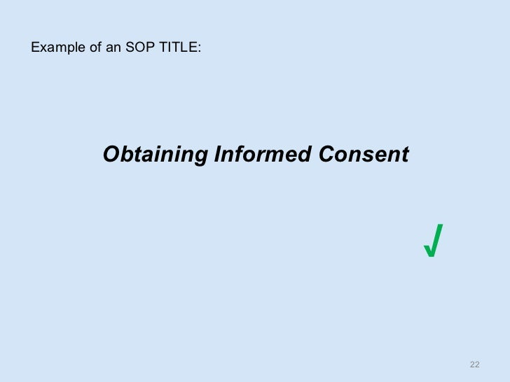 Example Of An SOP ...