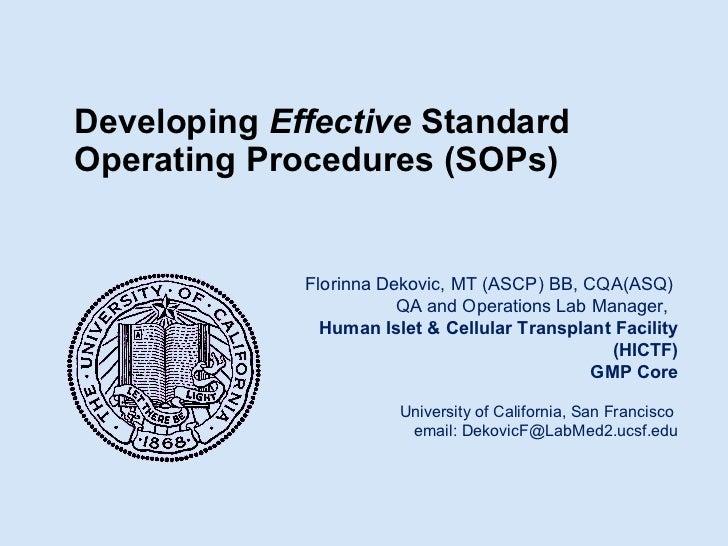Developing Effective Standard Operating Procedures