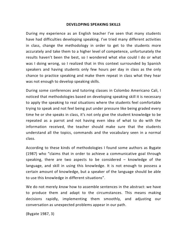 Essay spoken english