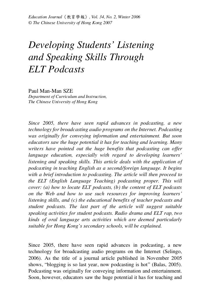 journal on speaking and listening Journal of business management & social sciences research (jbm&ssr) issn  no: 2319-5614  has brought the four language skills-listening, speaking.