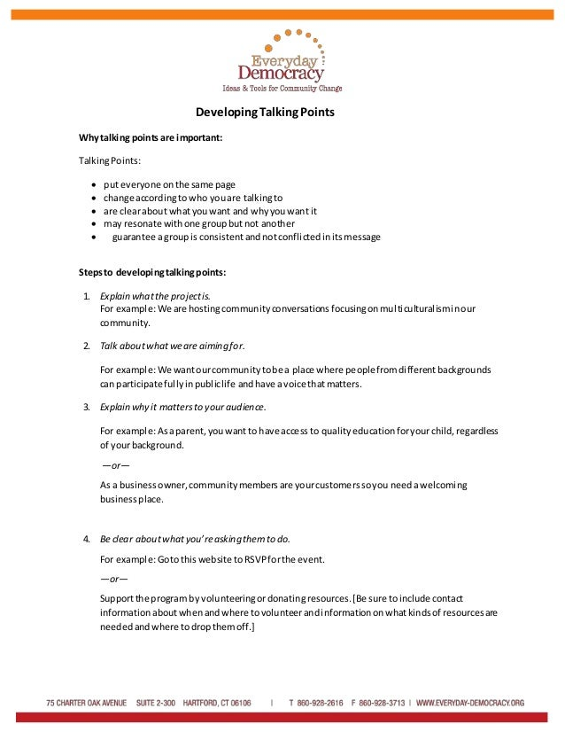 Developing Talking Points Handout