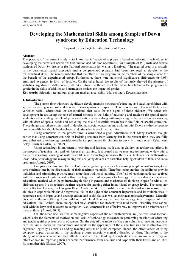 Journal of Education and Practice www.iiste.org ISSN 2222-1735 (Paper) ISSN 2222-288X (Online) Vol.4, No.16, 2013 145 Deve...