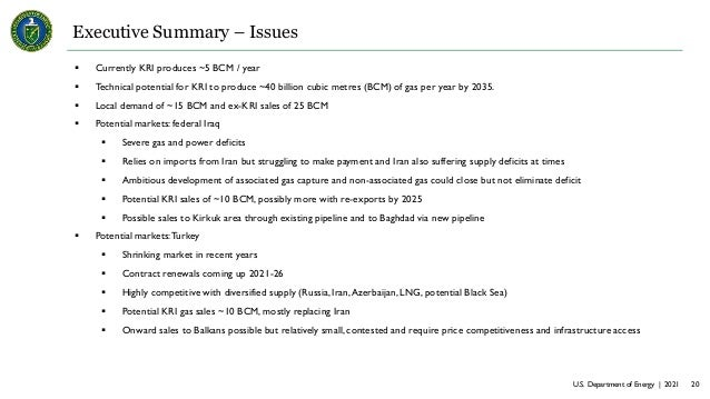 U.S. Department of Energy | 2021 20 Executive Summary – Issues  Currently KRI produces ~5 BCM / year  Technical potentia...