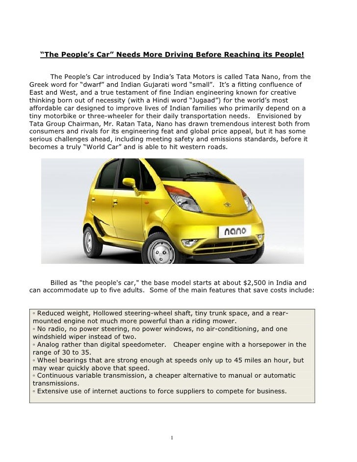 """""""The People's Car"""" Needs More Driving Before Reaching its People!          The People's Car introduced by India's Tata Mot..."""