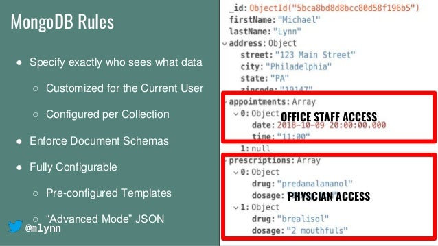 @mlynn MongoDB Rules ● Specify exactly who sees what data ○ Customized for the Current User ○ Configured per Collection ● ...