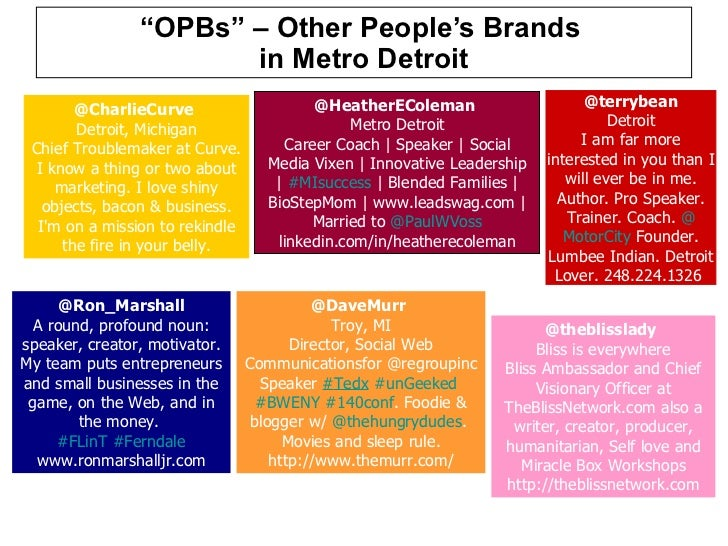 """"""" OPBs"""" – Other People's Brands  in Metro Detroit @CharlieCurve  Detroit, Michigan Chief Troublemaker at Curve. I know a ..."""