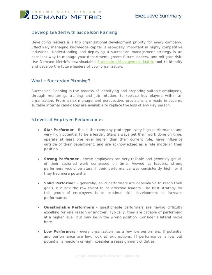 Executive SummaryDevelop Leaders with Succession PlanningDeveloping leaders is a top organizational development priority f...