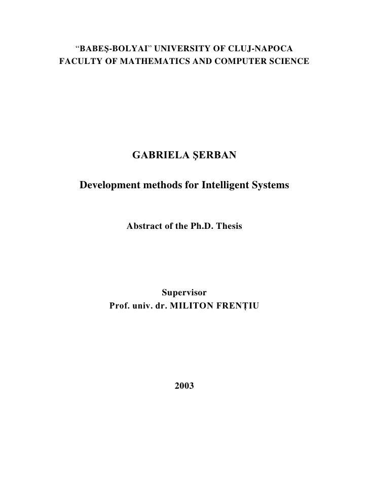 """BABEŞ-BOLYAI"" UNIVERSITY OF CLUJ-NAPOCA FACULTY OF MATHEMATICS AND COMPUTER SCIENCE                  GABRIELA ŞERBAN     ..."