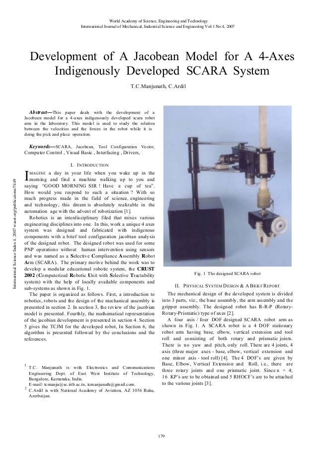 World Academy of Science, Engineering and Technology International Journal of Mechanical, Industrial Science and Engineeri...