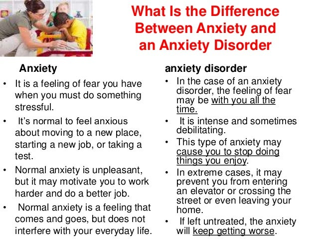 Difference between anxiety and depression