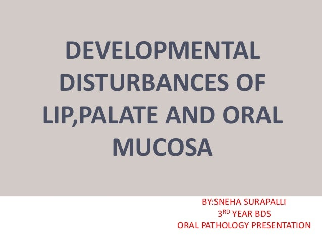 DEVELOPMENTAL DISTURBANCES OF LIP,PALATE AND ORAL MUCOSA BY:SNEHA SURAPALLI 3RD YEAR BDS ORAL PATHOLOGY PRESENTATION