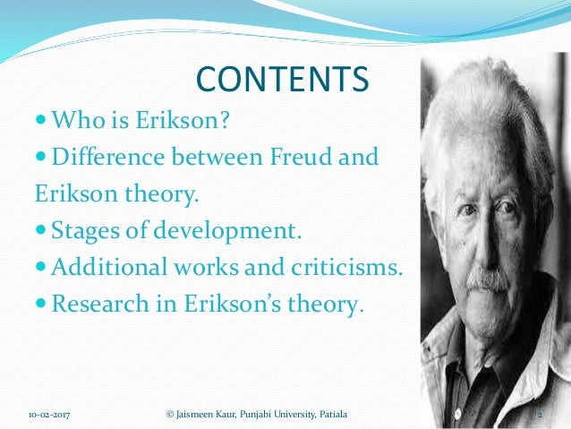 comparison between freud and erikson term paper Psychology term papers (paper 12992) on freud and jung's differences and similarities : freud and jung both sigmund freud and carl jung are famous psychoanalysists with unique approaches to personality.