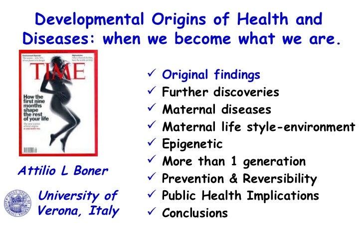 Developmental Origins of Health and  Diseases: when we become what we are. <ul><li>Original findings  </li></ul><ul><li>Fu...