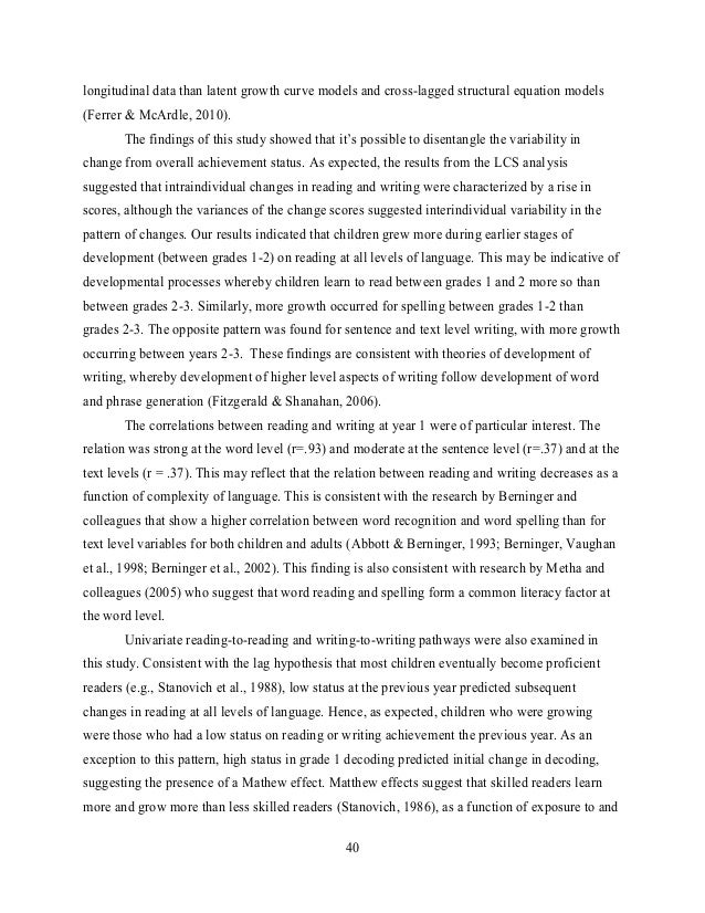 Developmental relations between reading and writing at the