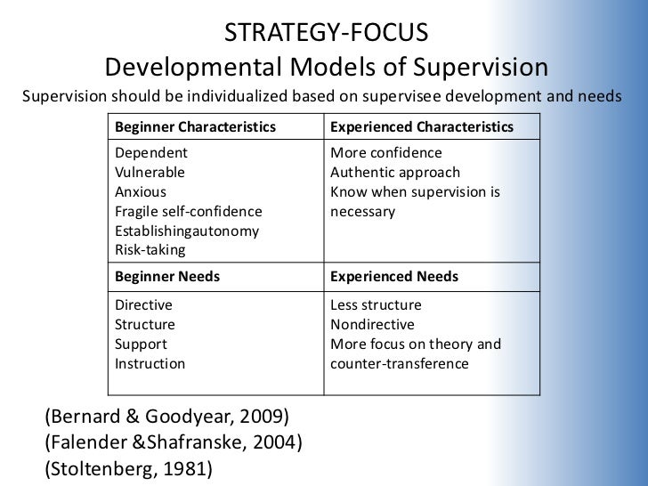 developmental supervision Request (pdf) | systemic-development | supervision models for marriage and family counseling student interns primarily focus on the use of traditional systemic techniques in addition, a supervisee's level of development may not be considered when utilizing systemic tools furthermore.