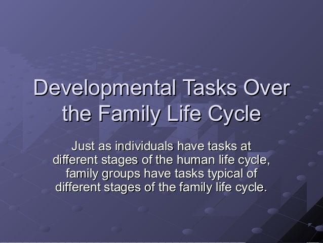 Developmental Tasks OverDevelopmental Tasks Over the Family Life Cyclethe Family Life Cycle Just as individuals have tasks...