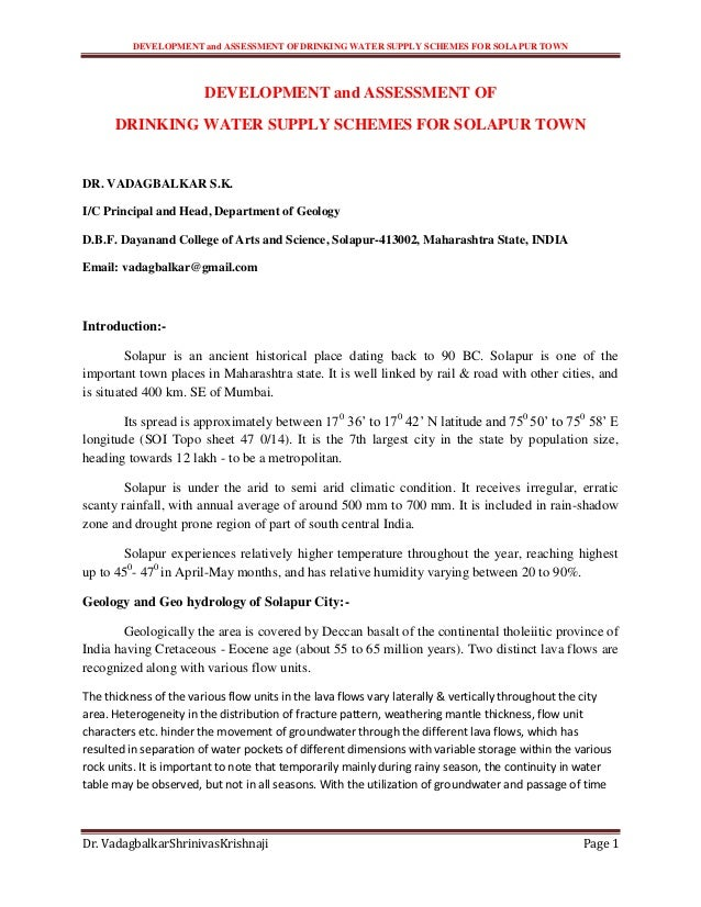 DEVELOPMENT and ASSESSMENT OFDRINKING WATER SUPPLY SCHEMES FOR SOLAPUR TOWNDr. VadagbalkarShrinivasKrishnaji Page 1DEVELOP...