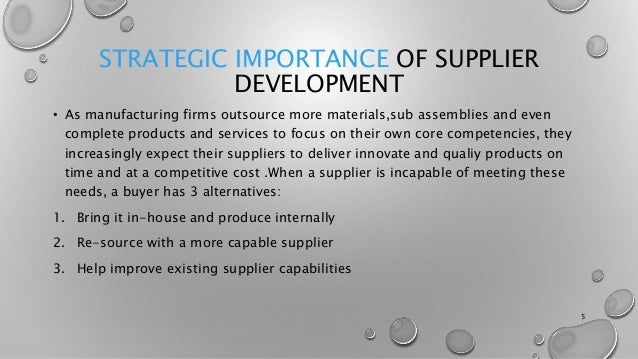 SUPPLIER SELECTION AND DEVELOPMENT