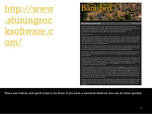http://www .shiningroc ksoftware.c om/ There are videos, and quick ways to do them. If you have a narrative defined, you c...