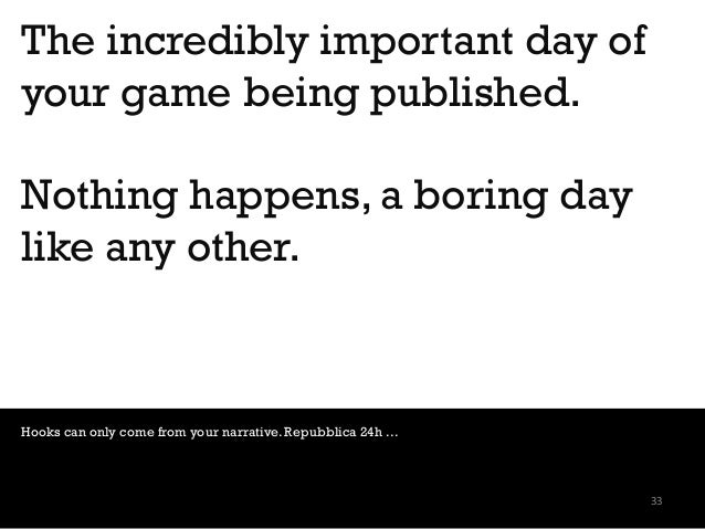 The incredibly important day of your game being published. Nothing happens, a boring day like any other. Hooks can only co...