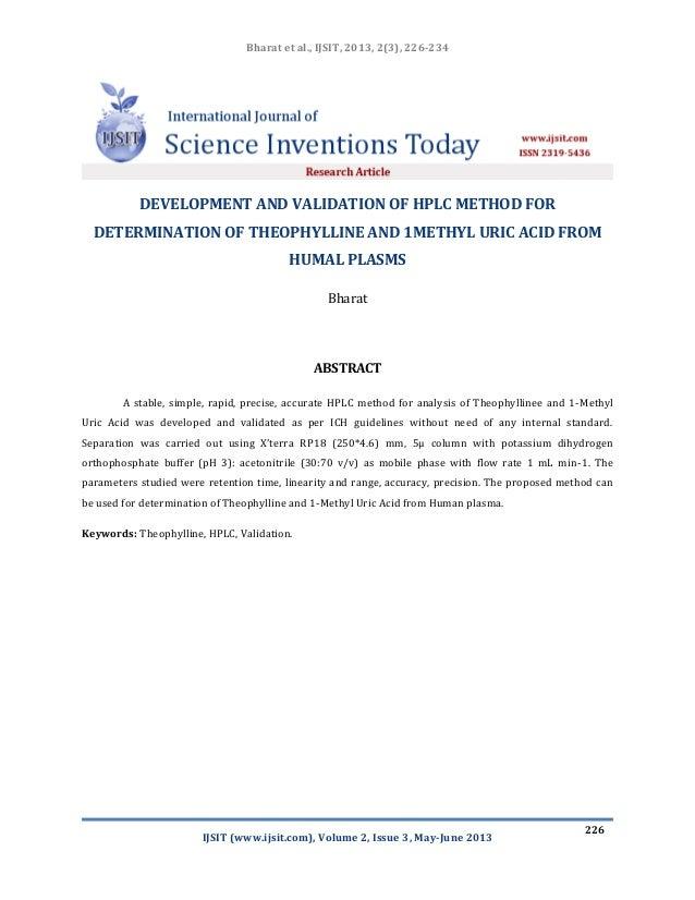 Bharat et al., IJSIT, 2013, 2(3), 226-234 IJSIT (www.ijsit.com), Volume 2, Issue 3, May-June 2013 226 DEVELOPMENT AND VALI...
