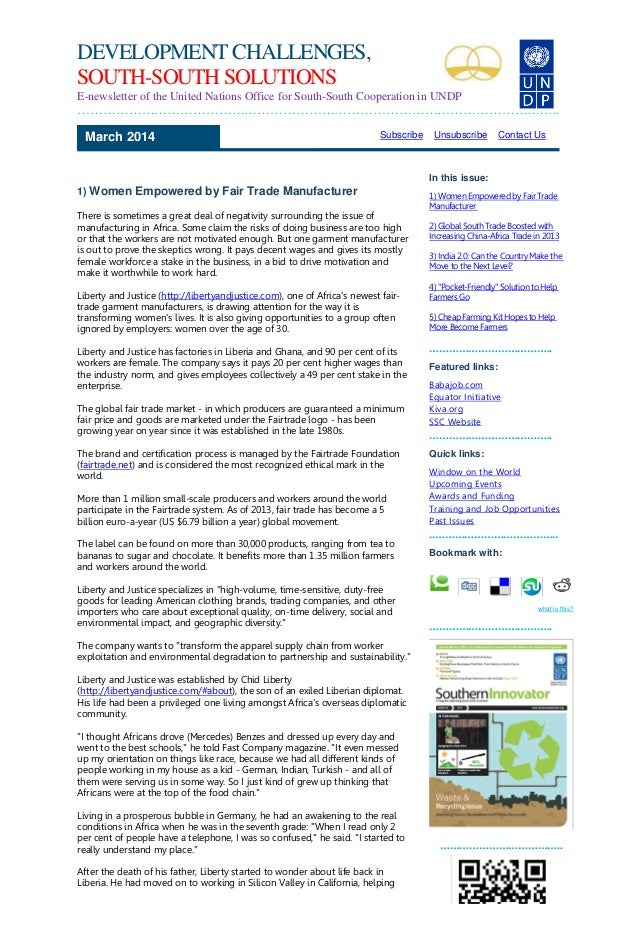DEVELOPMENT CHALLENGES, SOUTH-SOUTH SOLUTIONS E-newsletter of the United Nations Office for South-South Cooperation in UND...