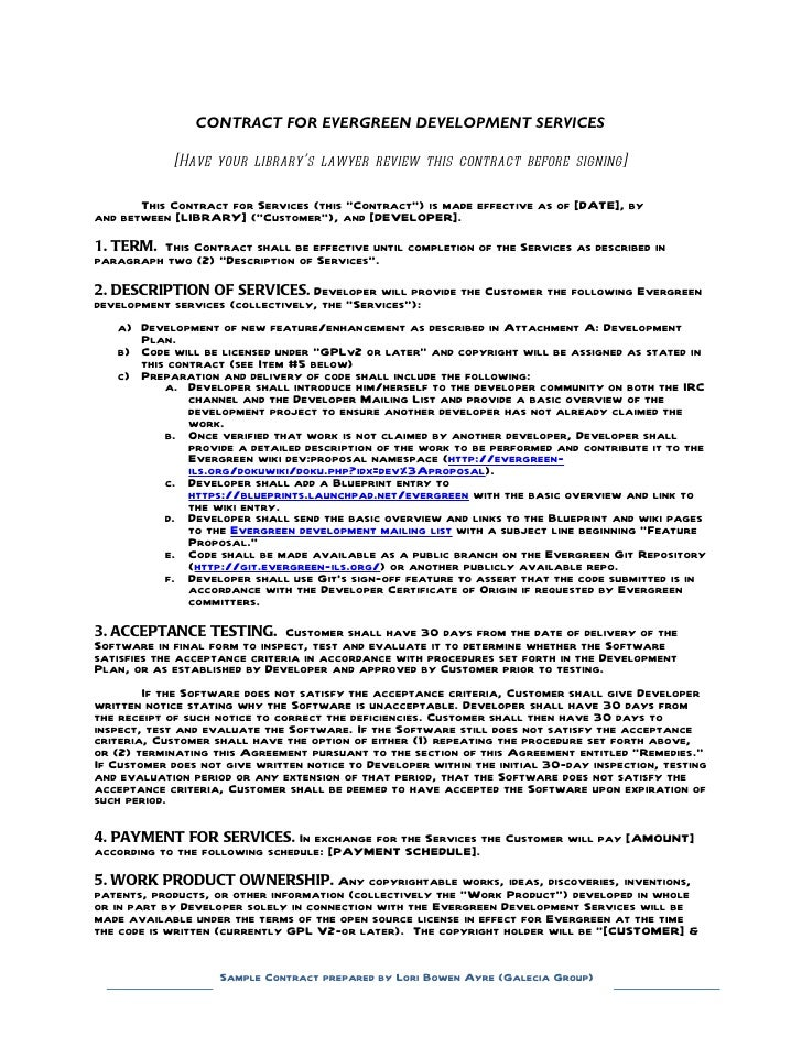 Sample contract for contracting with a developer evergreen for White label agreement template