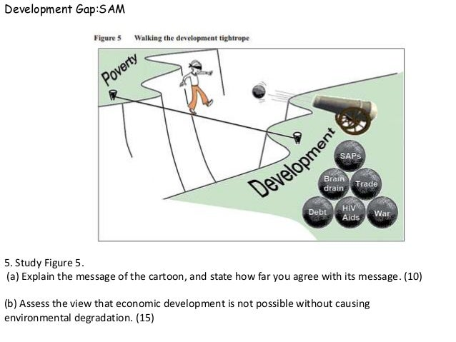 Development Gap:SAM5. Study Figure 5.(a) Explain the message of the cartoon, and state how far you agree with its message....