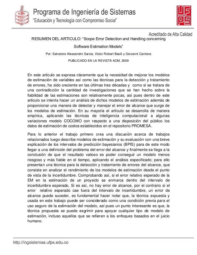 "RESUMEN DEL ARTICULO: ""Scope Error Detection and Handling concerning Software Estimation Models"" Por: Salvatore Alessandro..."
