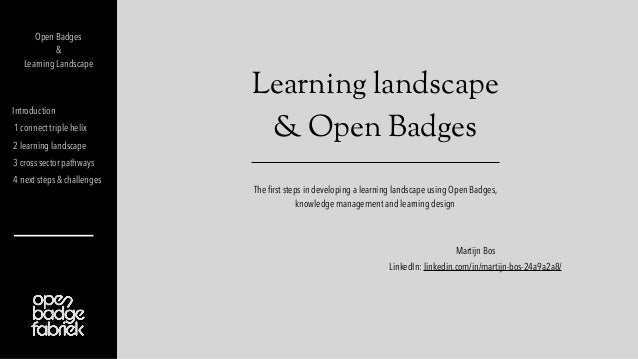 Learning landscape & Open Badges Introduction 1 connect triple helix 2 learning landscape 3 cross sector pathways 4 next s...