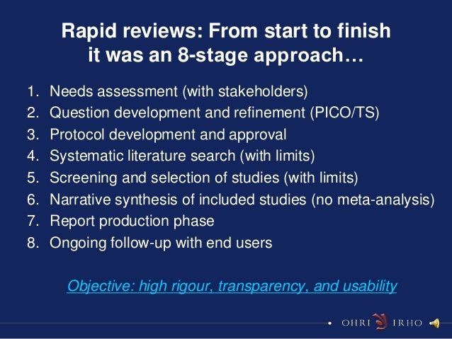 Rapid reviews: From start to finish        it was an 8-stage approach…1.   Needs assessment (with stakeholders)2.   Questi...