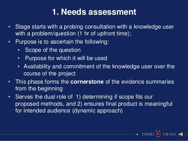1. Needs assessment• Stage starts with a probing consultation with a knowledge user  with a problem/question (1 hr of upfr...