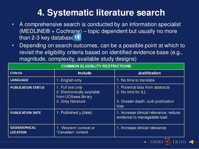4. Systematic literature search • A comprehensive search is conducted by an information specialist   (MEDLINE® + Cochrane)...