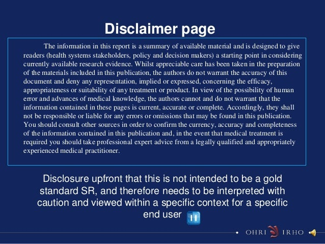 Disclaimer page        The information in this report is a summary of available material and is designed to givereaders (h...