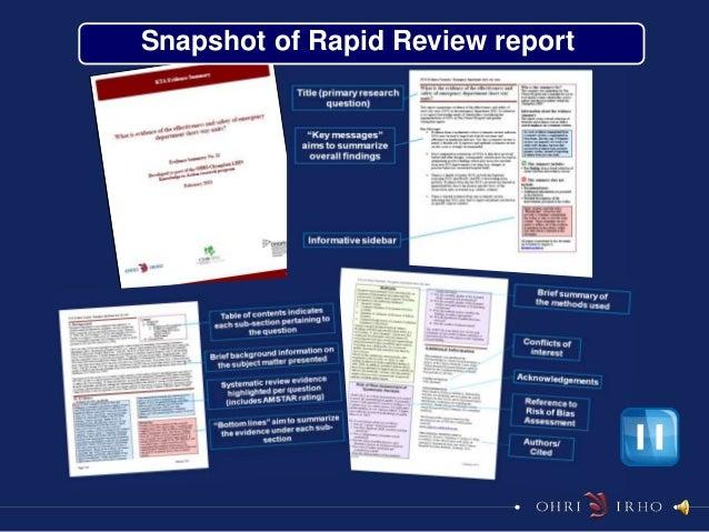 Snapshot of Rapid Review report