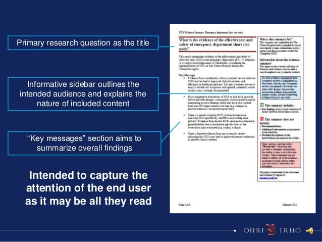 Primary research question as the title   Informative sidebar outlines theintended audience and explains the      nature of...