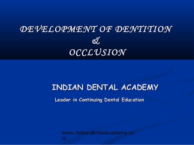 DEVELOPMENT OF DENTITION           &       OCCLUSION     INDIAN DENTAL ACADEMY     Leader in Continuing Dental Education  ...