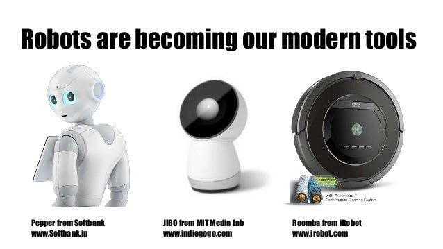 Robots are becoming our modern tools Pepper from Softbank www.Softbank.jp JIBO from MIT Media Lab www.indiegogo.com Roomba...