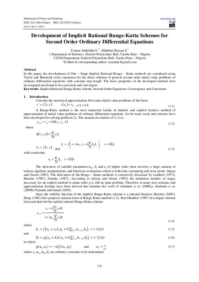 Mathematical Theory and Modeling ISSN 2224-5804 (Paper) ISSN 2225-0522 (Online) Vol.3, No.11, 2013  www.iiste.org  Develop...