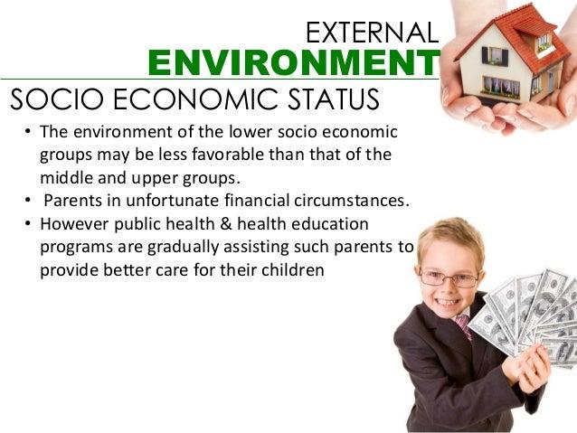 EXTERNAL               ENVIRONMENTSOCIO ECONOMIC STATUS• The environment of the lower socio economic  groups may be less f...