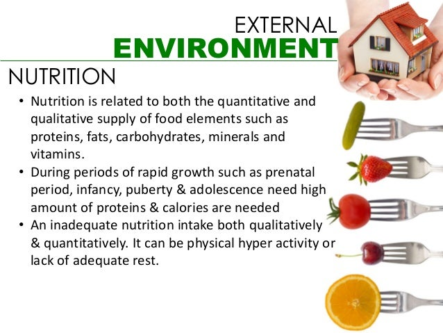 EXTERNAL                ENVIRONMENTNUTRITION• Nutrition is related to both the quantitative and  qualitative supply of foo...