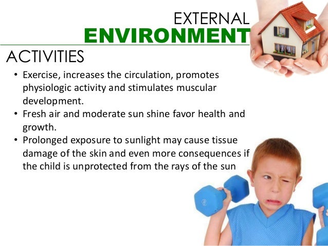 EXTERNAL                ENVIRONMENTACTIVITIES • Exercise, increases the circulation, promotes   physiologic activity and s...