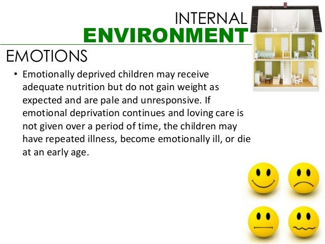 INTERNAL               ENVIRONMENTEMOTIONS• Emotionally deprived children may receive  adequate nutrition but do not gain ...