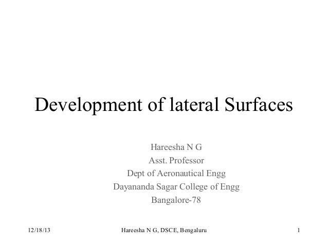 Development of lateral Surfaces Hareesha N G Asst. Professor Dept of Aeronautical Engg Dayananda Sagar College of Engg Ban...