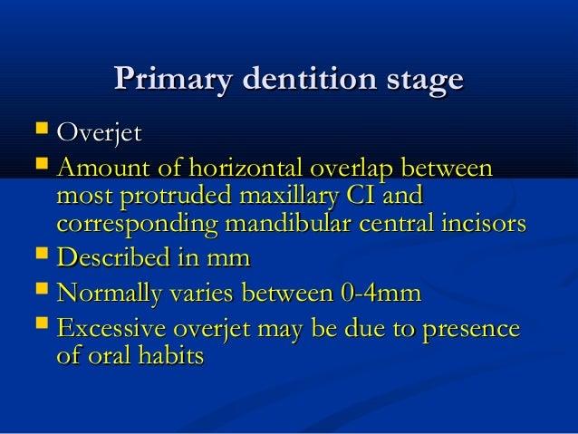 Primary dentition stagePrimary dentition stage  OverjetOverjet  Amount of horizontal overlap betweenAmount of horizontal...