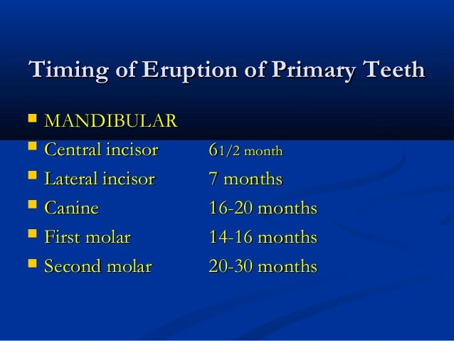 Timing of Eruption of Primary TeethTiming of Eruption of Primary Teeth  MANDIBULARMANDIBULAR  Central incisorCentral inc...