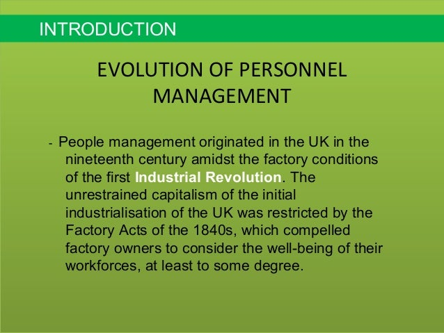 evolution of personnel management Recently published articles from human resource management review.